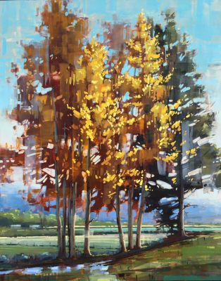 Originals 2017 - Poplars With Pine 45x36